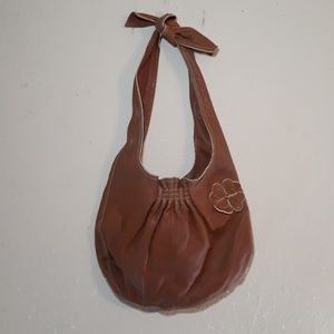 Marc Jacob's brown clover leather tie purse
